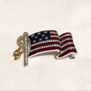 American Flag Rhinestone Brooch - Never Worn!